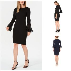 Calvin Klein Solid Sheath with Pearl Bell Sleeve 6